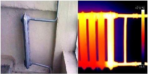 тепловизионное изображение радиатора отопления